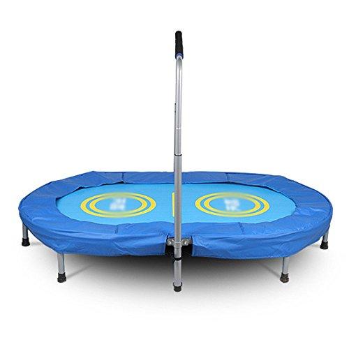 Wly&Home Doppeltes Indoor-Trampolin, Falten mit Armlehnen, Erwachsenes Fitness-Hüpfbett, Haushalts-Bungee-Bett-Kinder Gewichtsverlust-Maschine, Durchmesser 143 cm Blau