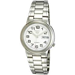 Seiko SNXE95K 5 Gent's Automatic Watch Analogue Watch-White Face-Grey Steel Bracelet