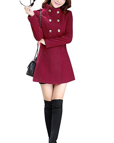 Donna inverno lana e cashmere misto giacca doppio petto cappotto di lana blended bodeaux l