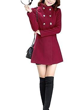 Mujer Invierno Abrigo de Lana de Botonadura Doble pecho Manga larga Chaqueta mezclada de lana Vino rojo M