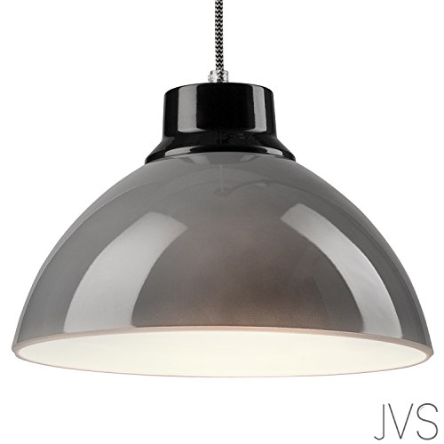 Pendel-Leuchte Decken-Leuchte aus Glas E27 Hänge-Leuchte (Farbe: Grau/Schwarz) Vintage Industrieleuchte Wohnzimmerlampe Modern Wohnzimmer mit Kabel Vintagelampe für Wohnzimmer/Küche/Büro/Praxis (Glas-deckenleuchte Vintage)