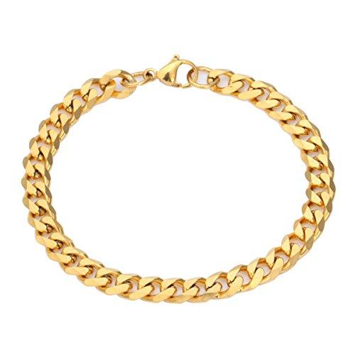 Trendsmax 7mm Catena in acciaio inox Uomini Bracciale Curb cubano tono oro
