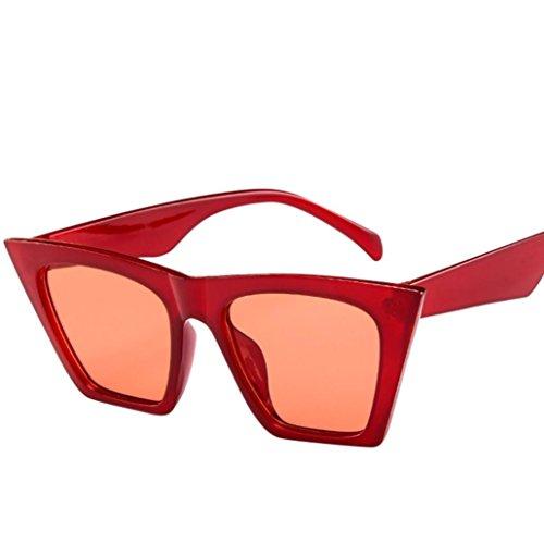 URSING Mode Damen Oversized Übergroße Sonnenbrille Vintage Retro Mode Katzenauge Brille Sonnenbrille Super Coole Damenbrillen Frauen Women Cat Eye Sunglasses Travel Eyewear (Rot)
