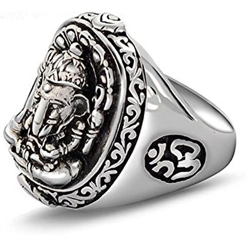 Ángel de Jade de Tailandia vieja de la vendimia Anillo de plata de ley estilo de elefante