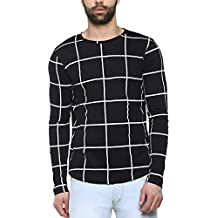 Urbano Fashion Men's Cotton Checkered Full Sleeve T-Shirt