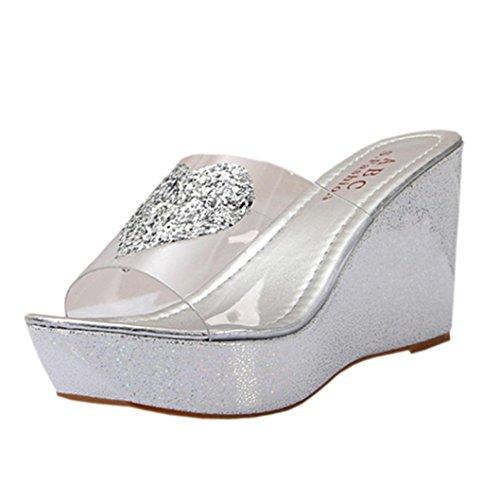 Transer® Damen Slipper Blockabsatz Herzform Pailletten Transparent PU-Leder Hausschuhe (Bitte achten Sie auf die Größentabelle. Bitte eine Nummer größer bestellen. Vielen Dank!) Silber
