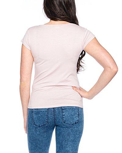 914 Damen T-Shirt Basic mit Stretch Rosa