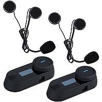 Uphig TCOM-SC Intercomunicador de Casco de Motocicleta Bluetooth Pantalla LCD Headset(Radio de FM / Música Del Teléfono / GPS / Alcance 800M)(2 piezas)