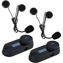 Boblov TCOM-SC W / Pantalla de intercomunicación Bluetooth intercomunicador del casco de la motocicleta 800M intercomunicador del casco de auriculares (TCOM-SC Auricular*2)