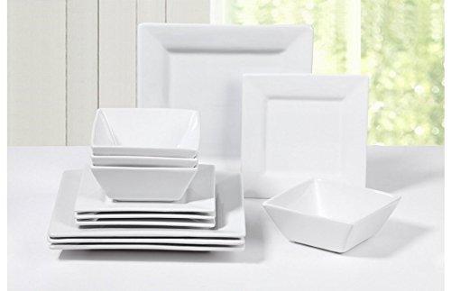 12 Piece White Square Porcelain Dinner Set