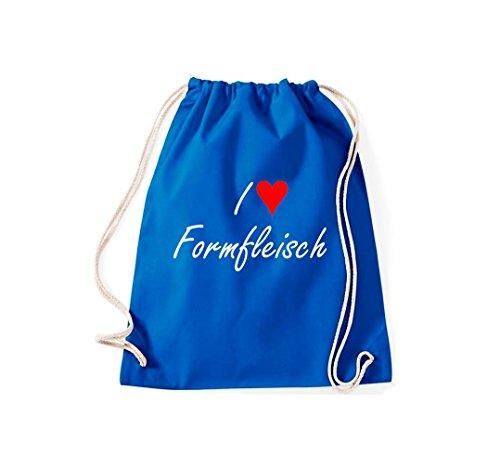 Turnbeutel I love Formfleisch Fun Spass Humor Hipster Gymsack Kultsack Royalblau