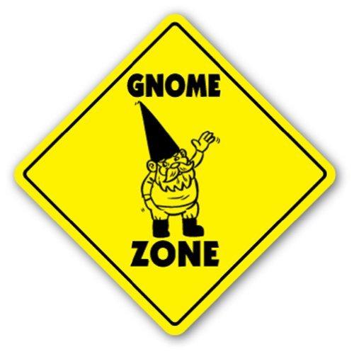 Funny Deko Schilder GNOME Zone Schild Garten Rasen Metall Aluminium Zeichen für Garagen, Wohnzimmer