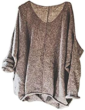 Mujeres Knitted Pullover Sweater Cuello En V Manga Larga Tops Plus Size