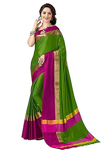 Mrinalika Fashion Women\'S Art Silk Saree With Blouse Piece saree for women latest design 2018 (sarees for women below 400 2AURA2006_2_Green_Free Size)