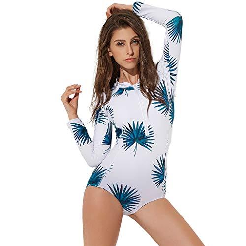 LOPILY Badebekleidung Damen Sommer Blumendruck Schnorchelanzug Schwimmanzug Strandmode Sonnencreme Schnelltrocknend Surfbekleidung mit Reißverschluss(X3-Mehrfarbig,S)