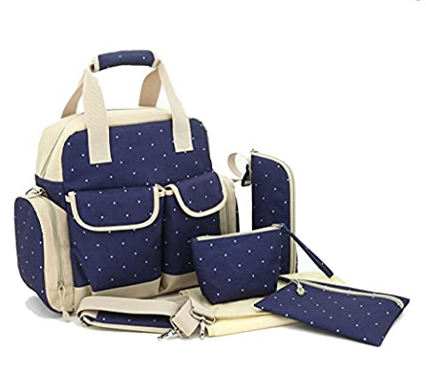 LCY Large 5pcs Backpack Baby Changing Bag 3 Carrying Options Dark Blue Dots
