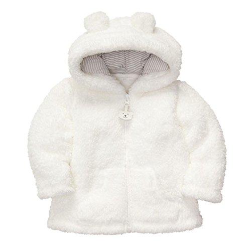Zolimx Ragazza del neonato con cappuccio cappotto Tops bambini Capispalla (60, Bianca) - Partito Con Cappuccio
