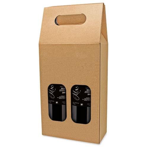 DISOK Lote 25 Cajas Cartón Ventana 2 Botellas. Estuches