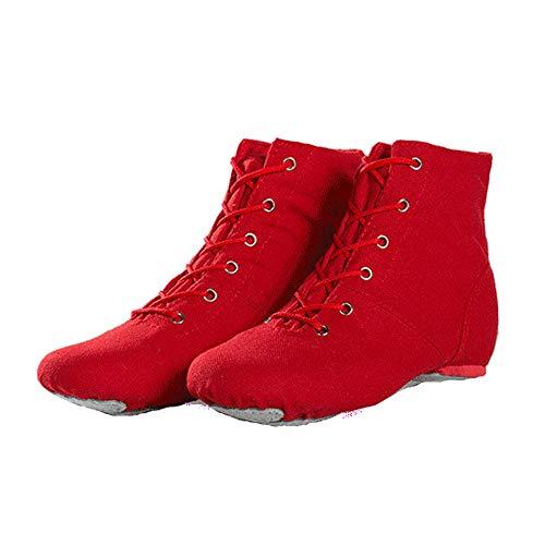 Rot red Jazz Dance Stiefel Schnürschuhe aus Segeltuch mit hohem Schaft und geteilter Ledersohle für Mädchen, Kinder, Frauen, Männer (37 EU)