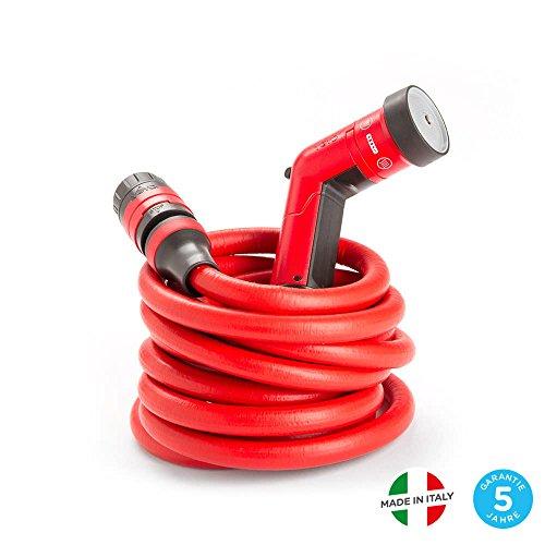 YOYO 30m – Der leichte und robuste, dehnbare Gartenschlauch mit Brause und Schnellkupplung mit Aquastop-System, für Garten, Haus und Reise. YOYO, der rote Gartenschlauch aus Italien.