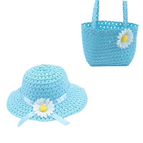 n Tasche Set Klassische Schöne Mädchen Sommer Sonnenschutz Hut Exquisite Blume Stroh Gewebt Tote Floral Beach Cap ()