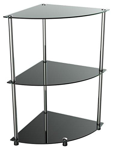 RICOO Bad-Regal für die Ecke WM501-B Stecksystem - Montage ohne Bohren | Hochglanz Schwarz Nicht Transparent/Durchsichtig | Eck-Regal Glas-Regal Badezimmer Stand-Regal Steckregal Beistell-Tisch
