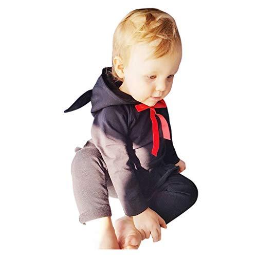 Proumy Bekleidungsset Baby Mädchen 2 Stück Langarm Kapuzenpulli Tops Sweatshirt Oberteil + Hosen Set Herbst Winter Kleidung Set (Schwarz,Label Size:4-5 Years) -