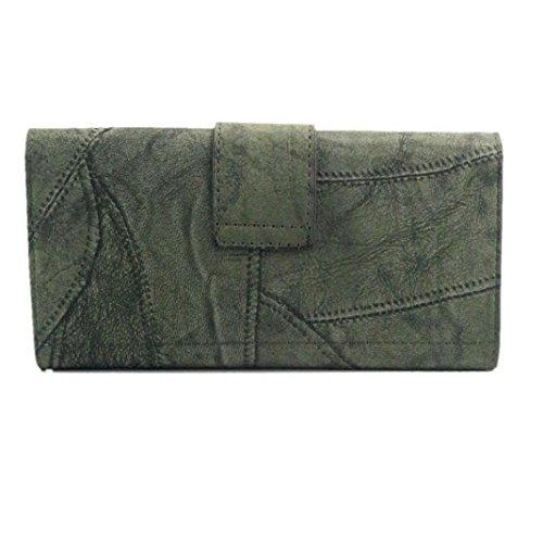 Koly_Frizione delle donne Retro borsa lunga Portafoglio Verde