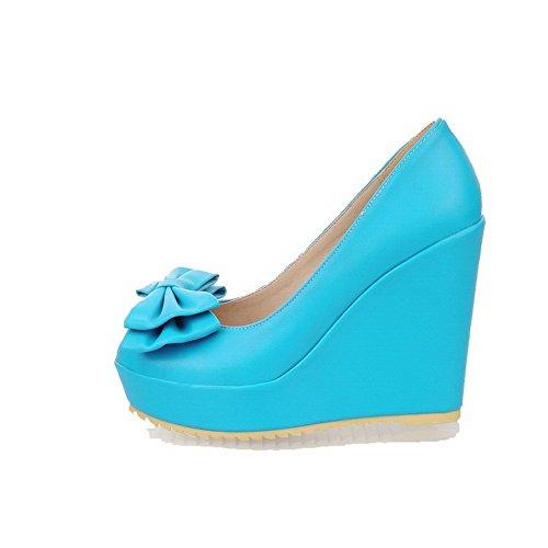 AllhqFashion Damen Hoher Absatz Rein Ziehen Auf Weiches Material Rund Zehe Pumps Schuhe Blau