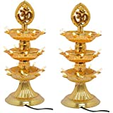 KERWA Premium 3 Layer New Electric Gold LED Bulb Lights Diya/Deep/Deepak For Pooja/Puja/Mandir Diwali Festival Decoration || (Pack Of 2) || S-03