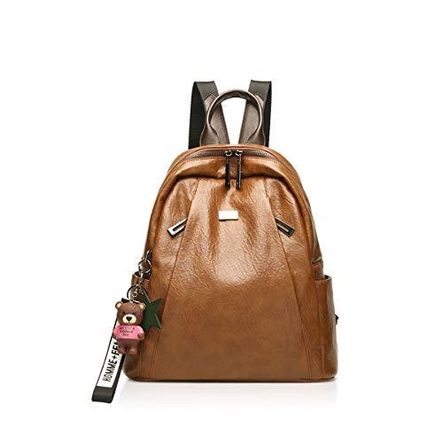 Eastery Handtasche 2019 Retro Fashion Damen Leder Rucksack Casual Einfacher Stil Travel Schultertasche Mit Bonus Bär Ornamente Braun, (Color : Braun A, Size : One Size)