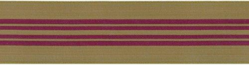 May Arts Band 3,8cm Draht Center Streifen, Band, Olive/Burgund, 25yd