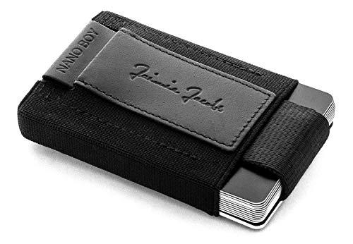 Jaimie jacobs 'nano boy' mini portafoglio porta carte di credito sottile mini wallet portafoglio uomo piccolo dal design minimalista porta tessere slim tascabile (nero)