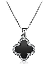 4d37e88caad1 aimaoer Diamante De Ágata Negro Collar De Trébol De Cuatro Hojas Simple  Temperamento Cadena De Clavícula