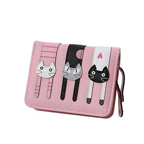 Ofertas del Viernes Negro 2016 valentoria® Regalos de cumpleaños para las mujeres de mini sintética piel bifold cartera de embrague de 3 diseño de gato, rosa