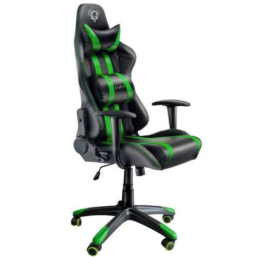 Diablo X-One Gaming Sedia da Ufficio Design ergonomico meccanismo di inclinazione Cuscino Lombare Finta Pelle Portata 150 kg (Nero-Verde)