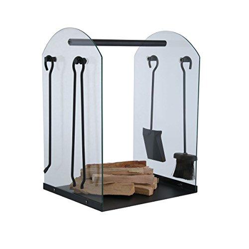 KaminoFlam Kaminbesteck Set mit Korb - Kaminzubehör schwarz mit Kaminholzständer - Kamingarnitur modern - Holzlege Eisen & Hartglas - Kaminset mit Besteck