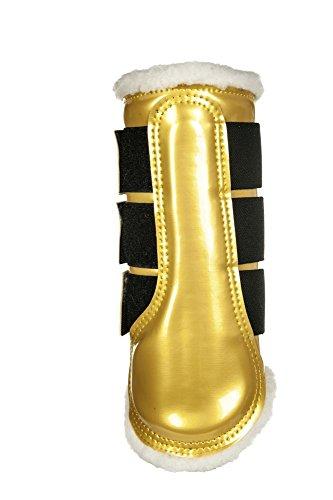 HKM un confort anatomique Cheval Poney coloré avec doublure en fourrure brossage/Protection Bottes Doré/blanc