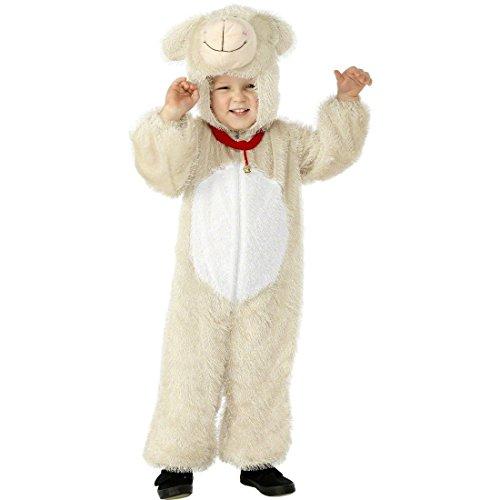 Lammkostüm Kinder Kostüm Schaf weiß 3-5 Jahre 115 - 128 cm Lamm Kostüm Schafkostüm Kinderkostüm Tierkostüm Overall Karneval