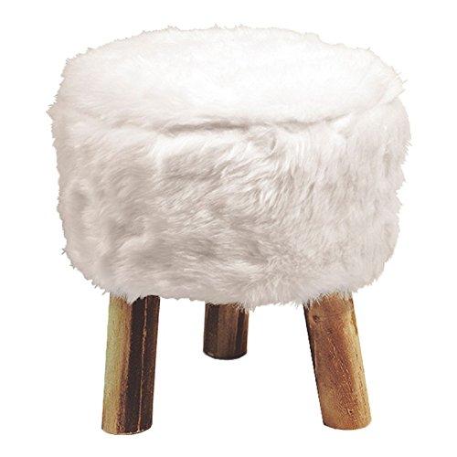Paris Prix - Tabouret Imitation Fourrure Yeti 36cm Blanc