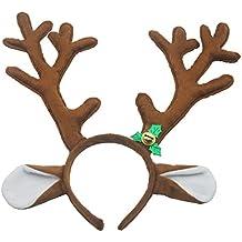 Diadema de cuernos de reno Diadema de Navidad y Pascua Vendas de fiesta Diadema de felpa corta Accesorios de cuernos Marrón de Antspirit
