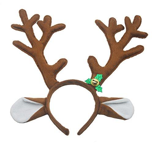 band Weihnachten und Ostern Halloween Party Stirnbänder kurze Plüsch Hirschgeweih Zubehör braun von Antspirit (Halloween-stirnbänder)