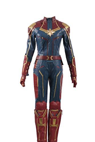 (Captain Marvel Carol Danvers Cosplay Kostüm Leder Mädchen Outfit)