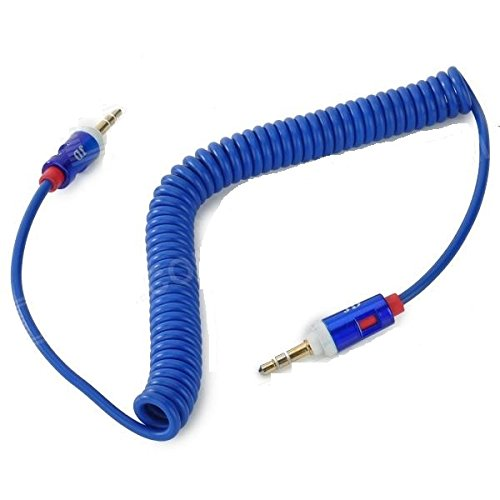 Brillante Executive Blue 3.5mm stereo jack maschio a maschio cavo AUX Spiral cavo (1,8 metri) per Apple Ipad ipad4 Air Ipad mini iPhone 6/6 +, 5 / 5s, 5C, Ipod Samsung S5, S4, S3, All Ge