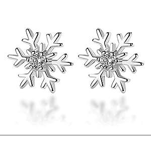925 Sterling Silber Ohrstecker Schneeflocke Eiskristall Winter Weihnachten Zirkonia Stein Geschenk Damen Frauen Kinder 10mm