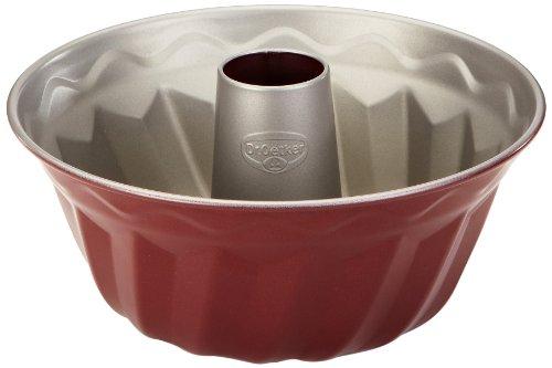 Dr. Oetker Gugelhupfform Ø 22 cm, Backform für Gugelhupf, runde Bundform aus Stahl mit zweifarbiger Antihaftbeschichtung (Farbe: grau/rot), Menge: 1 Stück