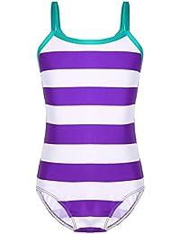 Tiaobug Mädchen Einteiler Badeanzug Streifen Muster Kinder Bademode Vintage Modisch Badekleidung Schwimmanzug Monokini Strandmode Swimsuit gr. 98 bis 164