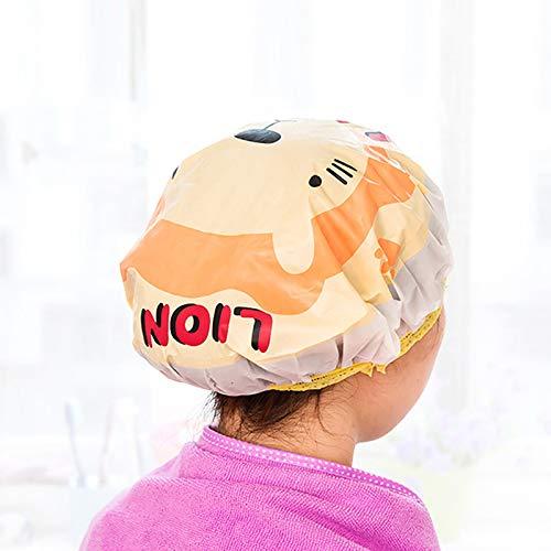 Nette Karikaturduschhaube Frauen Hut für Bäder und Saunen Spitze mit Gummiband Spa Kappe für Frauen und Kinder Schutzkappe