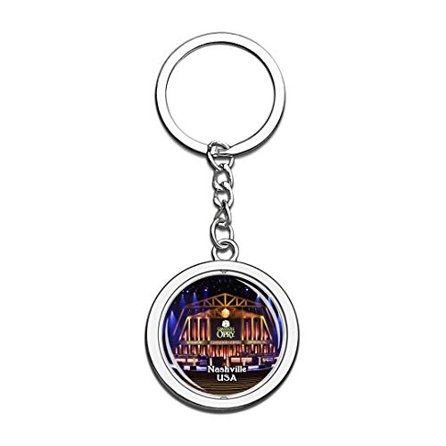 USA Vereinigte Staaten Schlüsselbund Grand Ole Opry Nashville Schlüsselbund 3D Kristall Drehen Rostfreier Stahl Schlüsselbund Touristische Stadt Andenken Schlüsselanhänger
