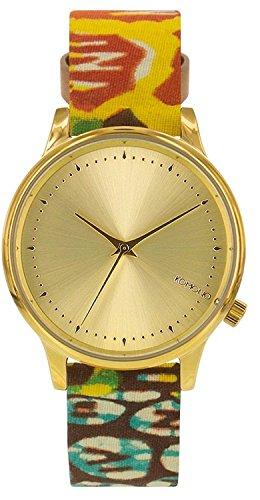 Reloj infantil de cuarzo con para mujer Komono dorado esfera analógica y  correa de piel KOM e9efdbde783